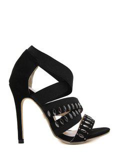 Black Elastic Band Cross-Strap Sandals - Black 39
