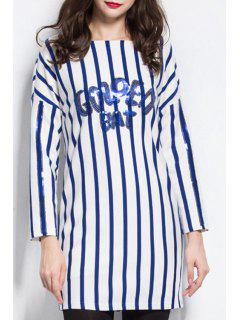 Long Sleeve Striped Shift Dress - Blue And White 3xl