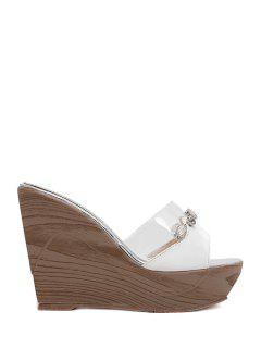 Rhinestone Transparent Wedge Heel Slippers - White 39