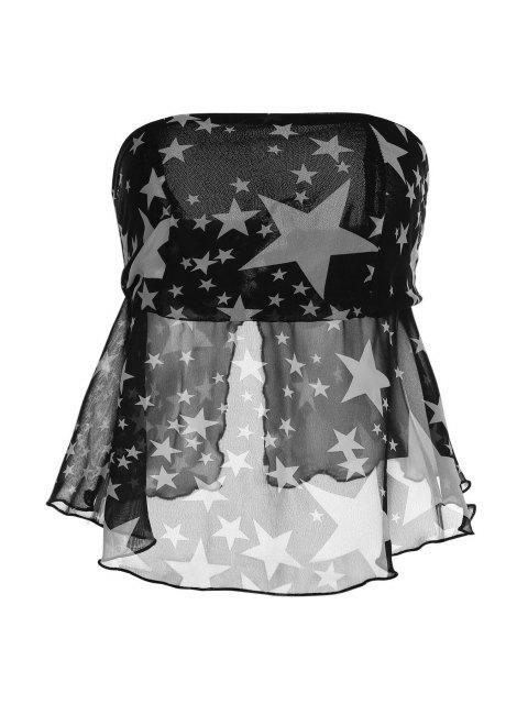 womens Strapless Pentagram Print Wrapped Chest Tank Top - BLACK M Mobile