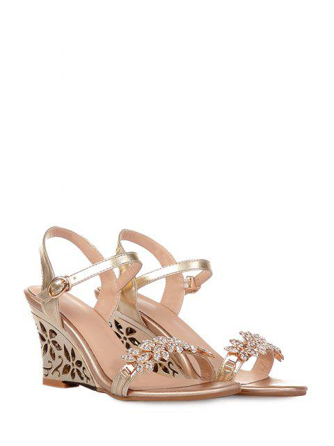 lady Rhinestone Hollow Out Wedge Heel Sandals - GOLDEN 37 Mobile