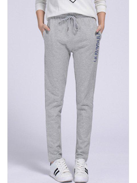 chic Side Letter Graphic Running Pants - GRAY XL Mobile
