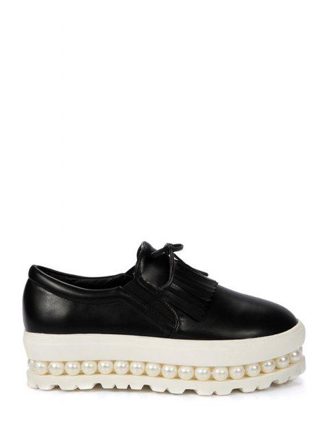 sale Fringe Faux Pearl Slip-On Platform Shoes - BLACK 39 Mobile
