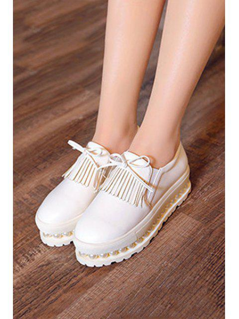 shop Fringe Faux Pearl Slip-On Platform Shoes - WHITE 38 Mobile