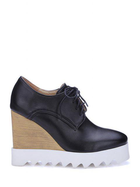 women Faux Leather Lace-Up Wedge Shoes - BLACK 39 Mobile