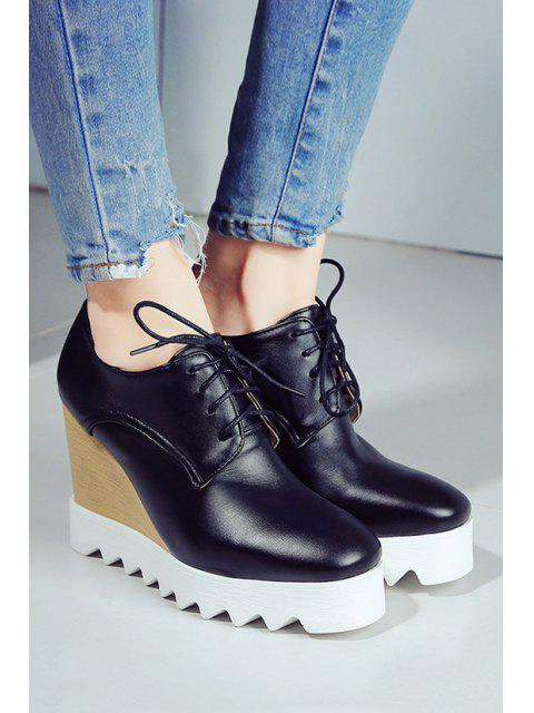 women Solid Color Lace-Up Wedge Shoes - BLACK 39 Mobile