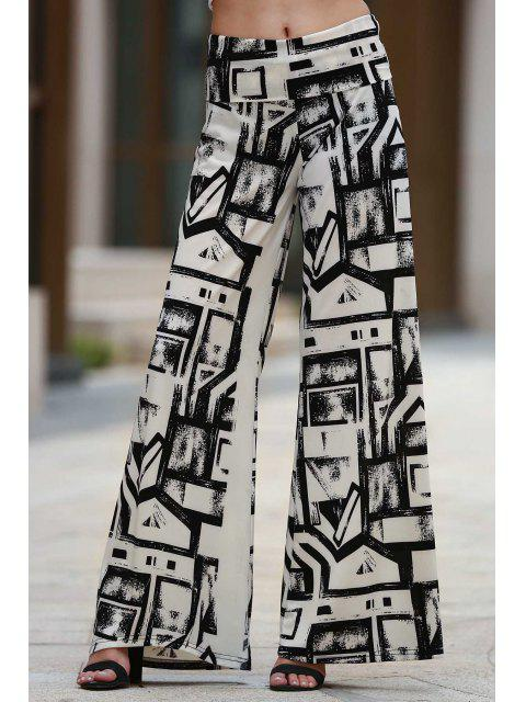 shops Geometric Print Palazzo Pants - WHITE AND BLACK M Mobile