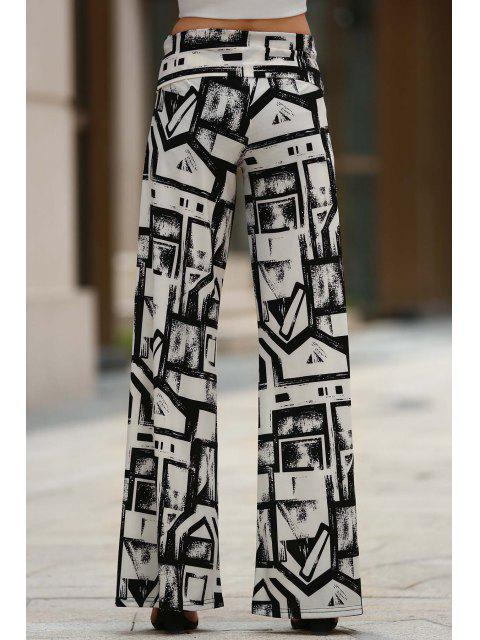 shop Geometric Print Palazzo Pants - WHITE AND BLACK S Mobile