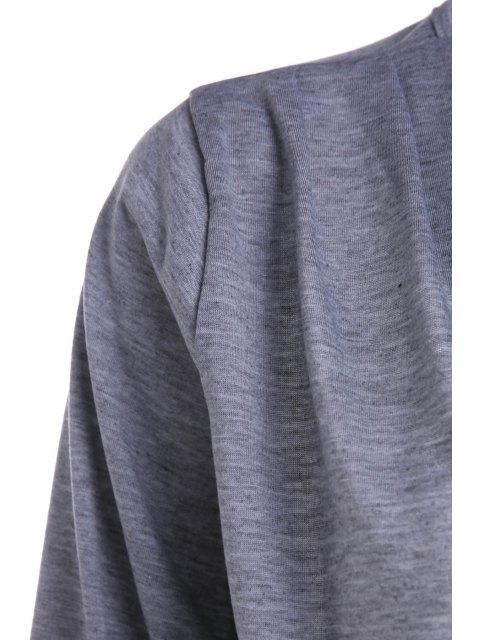 Dos nu plongeant Robe couleur unie cou à manches longues - Gris S Mobile