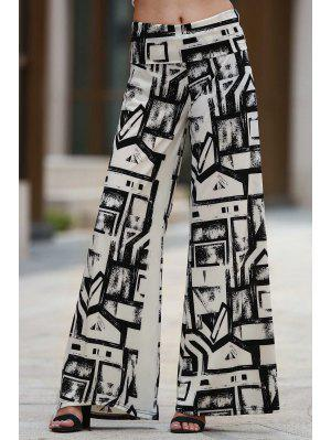 Geometric Print Palazzo Pants - White And Black M