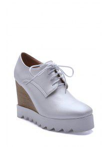 حذاء بكعب من الإسفين ذو رباط بلون موحد - أبيض 38