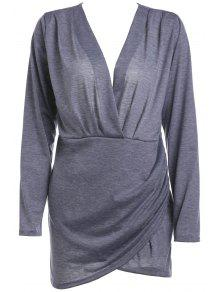Backless Plunging Neck Long Sleeve Solid Color Dress - Gray S
