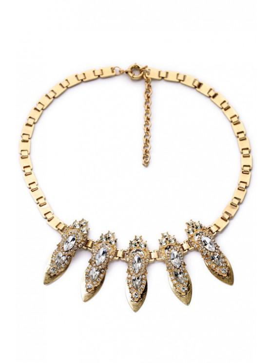 buy Vintage Faux Crystal Box Chain Necklace - GOLDEN