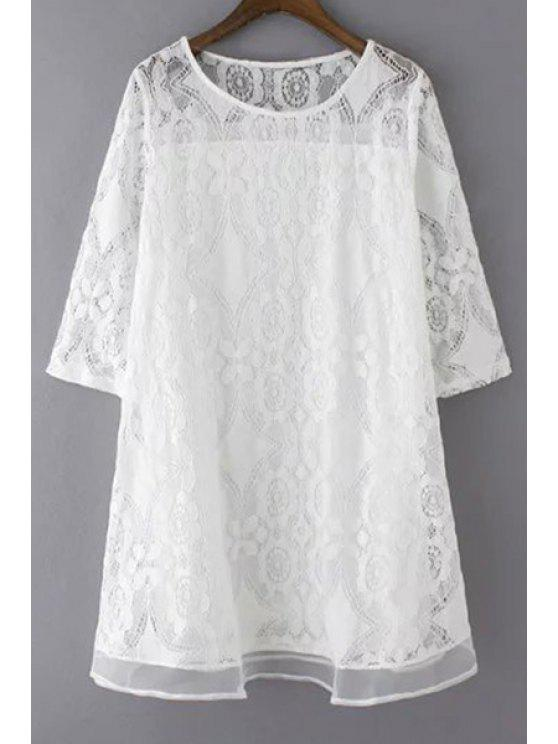 buy A-Line Guipure Lace Swing Dress - WHITE 3XL
