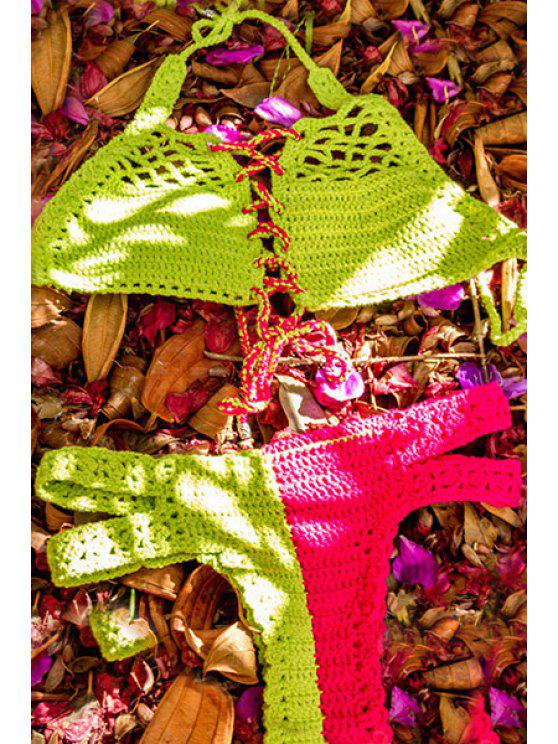 shops Color Block Handwork Knitted Bikini Set - GREEN XL
