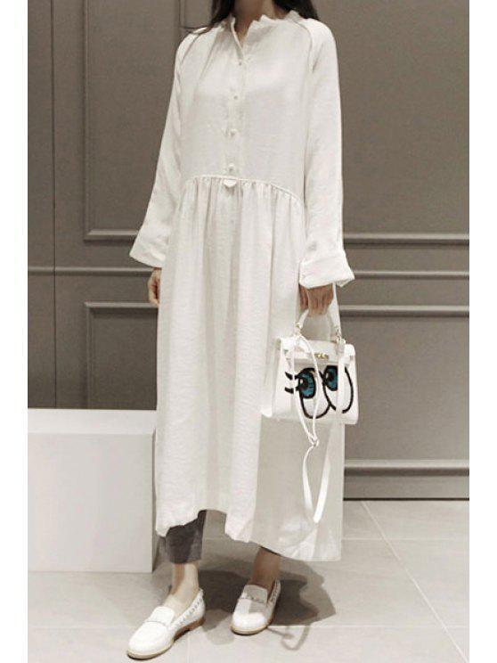 f90d2017da28 26% OFF] 2019 Solid Color V Neck Long Sleeve Maxi Dress In WHITE ...