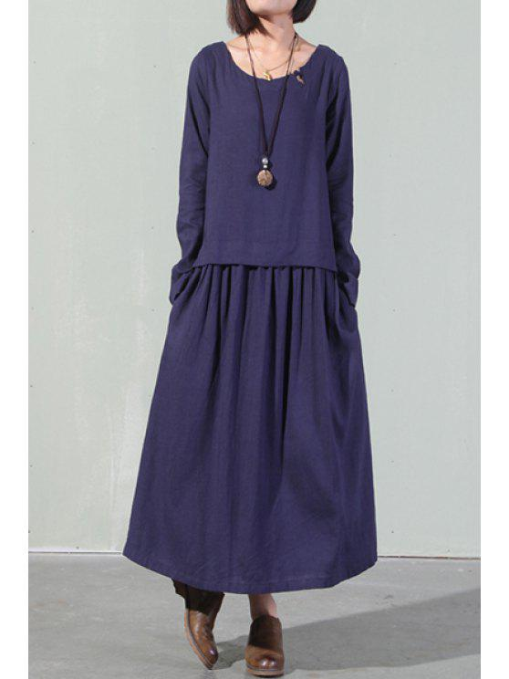 39ca830a39381 26% OFF  2019 Linen Long Sleeve Loose Maxi Dress In CADETBLUE