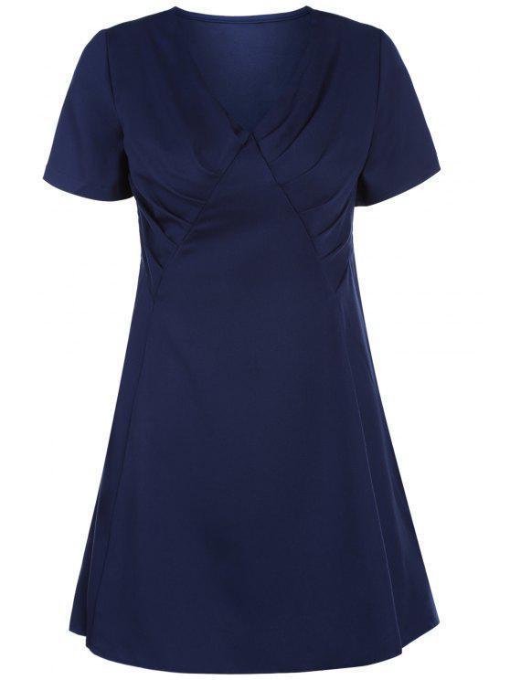 الخامس الرقبة بلون سوينغ اللباس - الأرجواني الأزرق L
