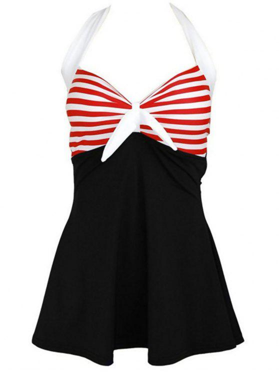 hot Halter Convertible Sailor Retro Swimdress Bathing Suit - BLACK AND WHITE AND RED XL