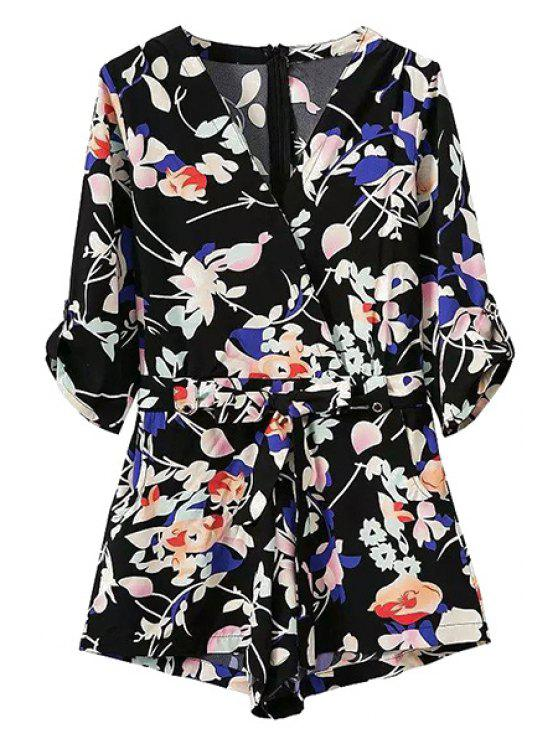 latest Pocket Design Belted Floral Playsuit - BLACK L