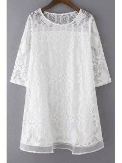 A-Line Guipure Lace Swing Dress - White M