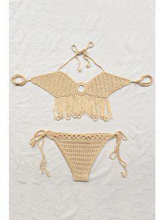 Fringe Solid Color Cut Out Halter Crochet Bikini Set - Apricot