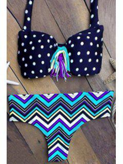 Tassels Wavy Print Straps Bikini Set - Blue Xl