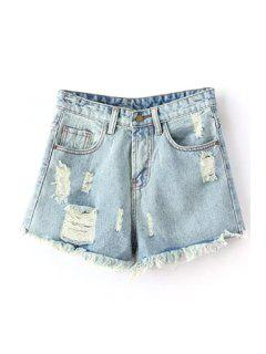 Pocket Design Frayed Denim Shorts - Light Blue Xl