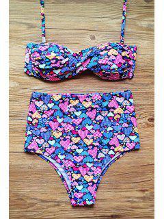Gathered Floral Print Halter High Waist Bikini Set - Purple L