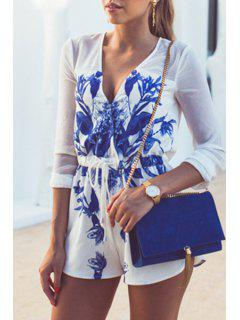 Floral Plunging Neck Long Sleeve Chiffon Playsuit - Blue And White M