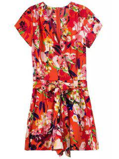African Style Floral Print Belted Romper - Red L