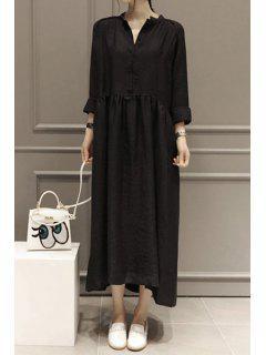 Solid Color V Neck Long Sleeve Maxi Dress - Black M