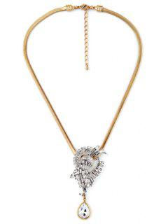 Stylish Water Drop Faux Crystal Necklace - Golden
