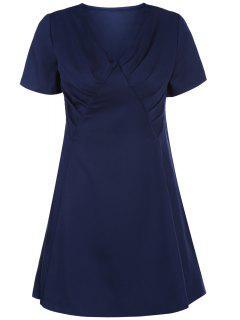 V-Neck Solid Color Swing Dress - Purplish Blue L