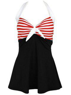 Halter Convertible Sailor Retro Swimdress Bathing Suit - Black And White And Red Xl