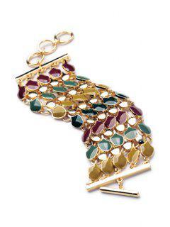 Stylish Chunky Colorful Resin Bracelet - Golden
