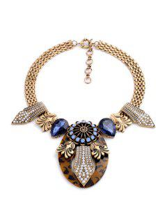 Vintage Faux Crystal Design Chunky Necklace For Women - Golden
