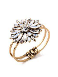 Charming Floral Faux Crystal Bracelet - Golden