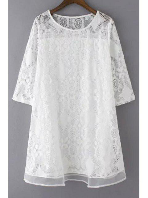 fancy A-Line Guipure Lace Swing Dress - WHITE M Mobile