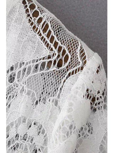 buy A-Line Guipure Lace Swing Dress - WHITE 3XL Mobile
