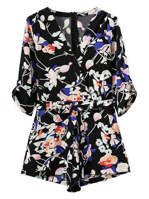 Pocket design Belted Floral Playsuit - Noir S Mobile