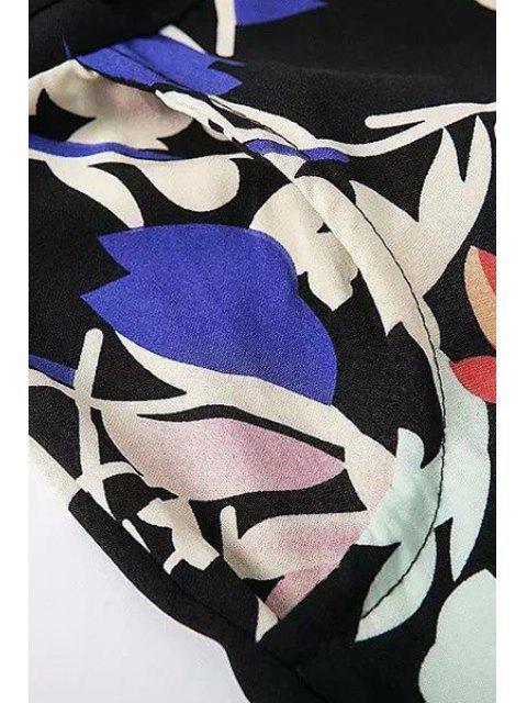 shops Pocket Design Belted Floral Playsuit - BLACK M Mobile