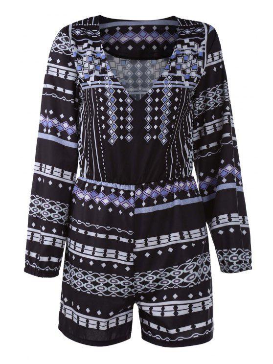 outfit 3/4 Sleeve Printed Playsuit - BLACK L