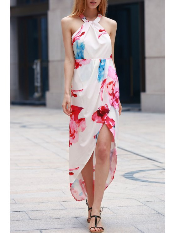 Vestido de la impresión de la flor del dobladillo irregular - Blanco L