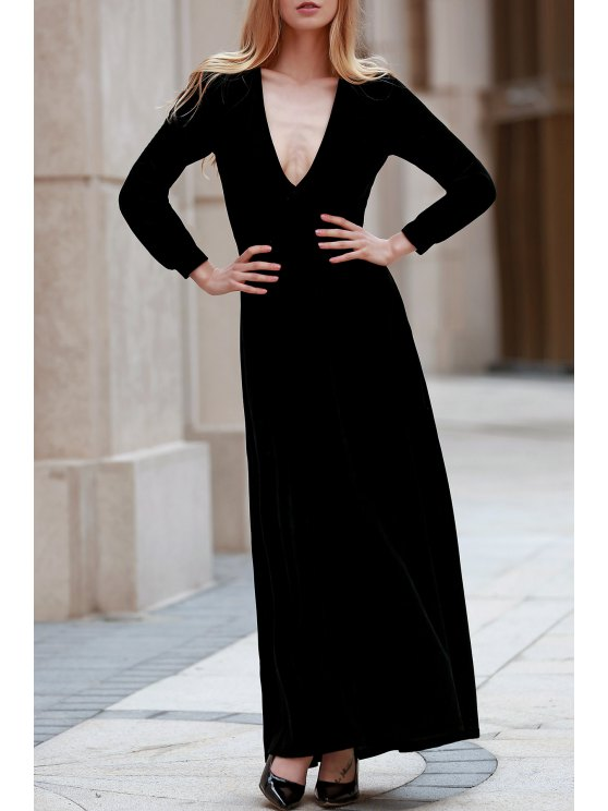 women's Black Velvet Plunging Neck Long Sleeve Dress - BLACK 2XL