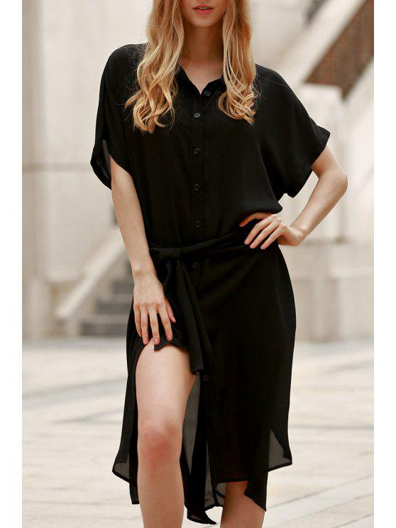 Robe grande à manches courtes à couleur noir - Noir S