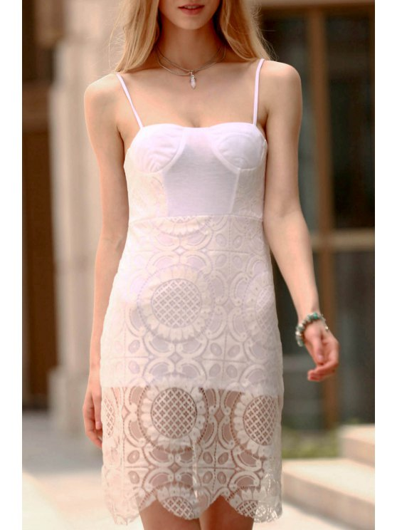 shop Lace Slip Bodycon Dress - WHITE L