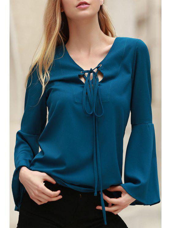 Hundiendo color sólido cuello largo de la llamarada de la manga de la blusa - Cián S