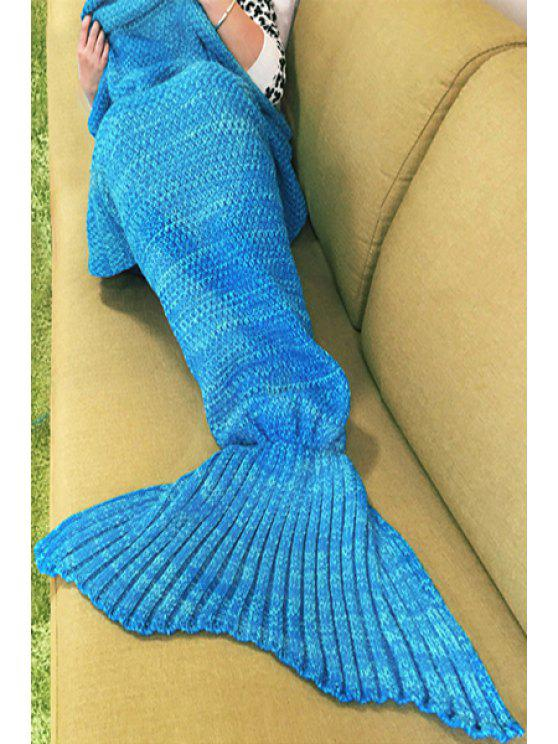 online Knitted Sleep Cell Mermaid Blanket - BLUE ONE SIZE(FIT SIZE XS TO M)