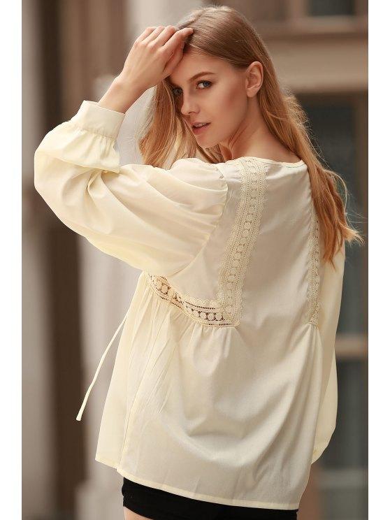 sale White Lace Up Jewel Neck Long Sleeve Blouse - LIMEADE M